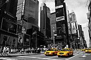 Yellow Taxis Framed Prints - Times Square Framed Print by Mandy Wiltse