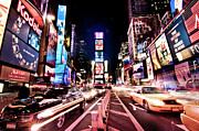Text Photo Framed Prints - Times Square, Manhattan, New York Framed Print by Josh Liba