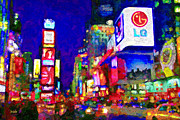 City Buildings Mixed Media Prints - Times Square Print by Michael Petrizzo