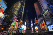 Nyc Photo Prints - Times Square Moonlight Print by Yhun Suarez