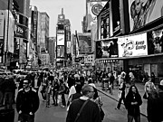 New York Signs Photo Framed Prints - Times Square New York BW Framed Print by David Dehner