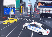 Police Paintings - Times Square New York by Eamon Reilly