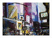 Manhattan Pastels Posters - Times Square Remembered Poster by Barry Rothstein
