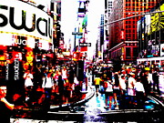 Pop Art Photos - Times Square Rush  by Funkpix Photo  Hunter