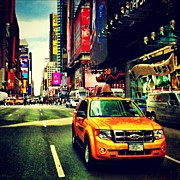 Skyline Framed Prints - Times Square Taxi Framed Print by Luke Kingma