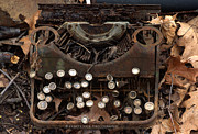 Typewriter Photos - Timeworn Old Rusty Typewriter by Ohio Stock Photography