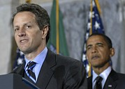 Timothy Geithner Speaks Print by Everett