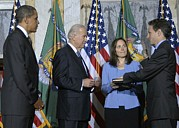 Biden Prints - Timothy Geithner Sworn-in As Secretary Print by Everett