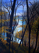 Riverscape - Early Autumn Framed Prints - Tims Ford Inlet Framed Print by Bill Brown