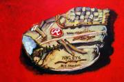 Baseball Mitt Framed Prints - Tims Glove Framed Print by Jame Hayes