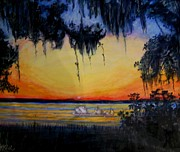 Canoe Mixed Media Originals - Timucuan Sunset  by Deborah  Reid