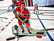 Vintage Hockey Player Posters - Tin Canadien Poster by Nathan  Brend