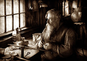 Beard Prints - Tin Smith - Making toys for Children - Sepia Print by Mike Savad