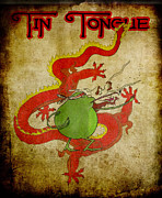 Dragon Fly Drawings Posters - Tin Tongue Poster by Pedro Caignet