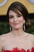 Diamond Earrings Framed Prints - Tina Fey At Arrivals For 17th Annual Framed Print by Everett