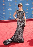 Gray Dress Posters - Tina Fey Wearing Oscar De La Renta Poster by Everett