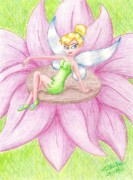 Tinker Bell Drawings Prints - Tinker Bell Print by Trudell Newton