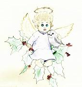 Angel Drawings - Tinted Little Angel by Sonya Chalmers