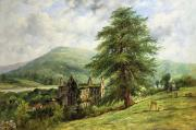 Gothic Graveyard Prints - Tintern Abbey  Print by Frederick Waters Watts