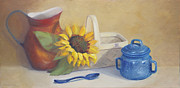Jug Painting Originals - Tinware Blue by Diana Cox