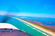 East Coast Digital Art Framed Prints - Tiny Airplane Big View II Framed Print by Betsy A Cutler East Coast Barrier Islands