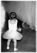 Dancers Artwork - Tiny Ballerina in soft black and white by Constance Woods