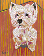 Pet Portraits Paintings - Tiny Dancer by David  Hearn
