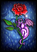 Kids Room Pastels Posters - Tiny Dragon with Rainy Day Red Rose Poster by Lisa Anne Riley