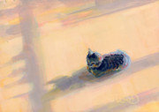 Gray Paintings - Tiny Kitten Big Dreams by Kimberly Santini