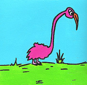 Flamingo Drawings Prints - Tiny Legged Flamingo Print by Jera Sky