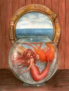 Extinct And Mythical Drawings Prints - Tiny Mermaid Print by Bruce Lennon