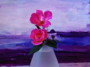 Mauve Roses Photo Acrylic Prints - Tiny Rose Bouquet Acrylic Print by Marsha Heiken