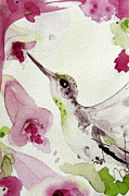 Hummingbird Paintings - Tiny Treat by Dawn Derman