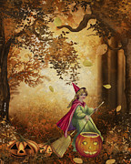 Falling Leaves Framed Prints - Tiny Witch Framed Print by Cheryl Young