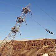 Electric Pylon Framed Prints - Tipping Pylon in the Desert Framed Print by Eddy Joaquim