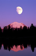 Montana Posters - Tipsoo Lake And Full Moon At Mount Ranier National Park In Washington Poster by Steve Satushek