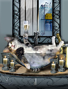 Humorous Painting Prints - Tipsy kitty taken a bubble bath by candlelight  Print by Gina Femrite