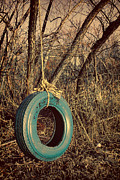 Turquoise And Brown Framed Prints - Tire Swing Framed Print by Tony Grider