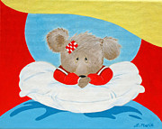 Childrens Prints Paintings - Tired Bear Teddybear by Lisa Marie