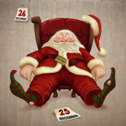 Santa Claus Digital Art Originals - Tired Santa Claus by Giordano Aita