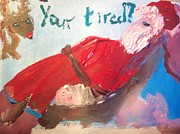 Rudolph Painting Prints - Tired Santa Print by Judith Desrosiers
