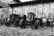 Oliver Tractor Framed Prints - Tired Tractors BW Framed Print by Peter Chilelli