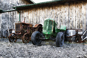 Oliver Tractor Framed Prints - Tired Tractors Framed Print by Peter Chilelli