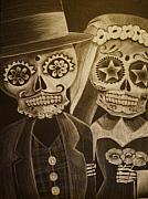 Skeletons Drawings - Tiro De Gracia by Tanya Tee