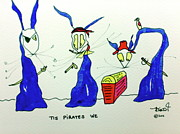 Pirate Drawings - Tis Pirates We by Tis Art