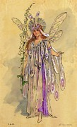 Wings Drawings Prints - Titania Queen of the Fairies A Midsummer Nights Dream Print by C Wilhelm