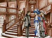 Gilded Drawings Framed Prints - Titanic - Grand Staircase Framed Print by James Falciano