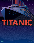 Poster Digital Art Metal Prints - TITANIC 100 years Commemorative Metal Print by Leslie Alfred McGrath