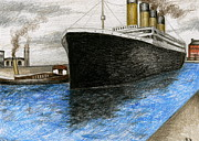 Docked Boat Drawings Prints - Titanic at Southampton Print by James Falciano