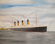 Liner Painting Originals - Titanic departing Queenstown by James McGuinness